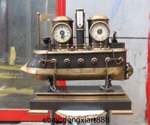 23 Europe Retro Bronze Mechanical Clockwork Table Clock warship Model Timepiece