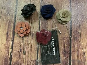 5 Flower Lapel Pins - Blue, Black, Tan, Brown and Burgundy - New and Unused