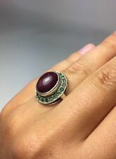 6 Carat cabochon cut ruby with emerald ring Size 6.5