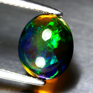 2.16 Ct 11x9mm Oval Cab Natural Floral Flash Play Of Color Crystal Black Opal Nr