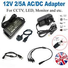 NEW 12V 2A 5A AC/DC Adapter UK  Power Supply Unit PSU For CCTV Camera LED Strip