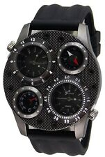 Dual Time Thermometer Compass Fashion Oversized Luxury Black Mens Geneva Watch