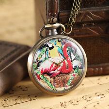 Pocket Watches Women Necklace Chain Vintage Colorful Painted Cute Ostrich Quartz