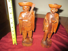 "Vintage Pair of Otavalo Hand Carved 10"" Wooden Ecuador Guitar Player & His Amigo"
