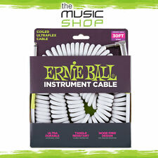 New Ernie Ball 30ft White Coiled Instrument Cable - 6045 S/A Curly Guitar Lead