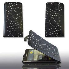Design 7 Handy Flip Tasche Cover Case mit Strass für Samsung i9100 Galaxy S2
