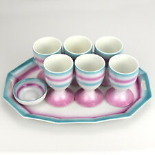 Art Deco Bauhaus Era Porcelain Egg Cup Set on Tray Spritzdekor