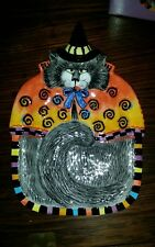 New! Nib! Fitz & Floyd Halloween Kitty Witches with Curly Q's Canape Plate