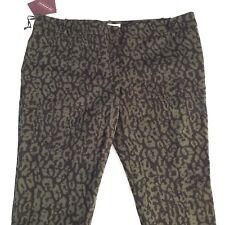 Ava & Viv Womens Pants Sz 22 W Stretch Black Green Animal Print Ankle Length New