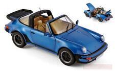 Norev 187663. Coche de colección. Porsche 911 Turbo Targa 1987 Azul. Escala 1/18