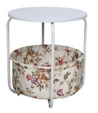 Table D'Appoint + Panier Basse Salon Maison de Campagne Métallique Rond Blanc