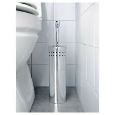 IKEA Polished Chrome Stainless Steel Toilet Brush & Holder Lavatory Cleaner