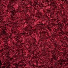 "Rose / Rosette Satin Fabric 3D Satin Ribbon 54"" Wide Fabric BTY Burgundy"