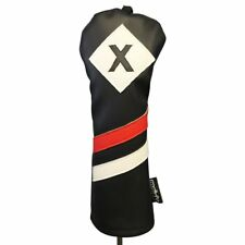 Majek Retro Golf X Fairway Wood Headcover Black Red White Vintage Leather Style