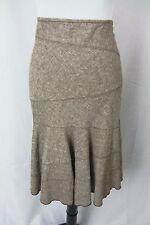 DKNY Skirt size 10 Brown Tweed Linen Flared Modest Slim