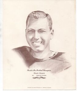Large 1960s Print of NFL Champion Green Bay Packers Player Bart Starr