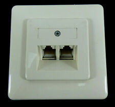 2 Fach Unterputz Netzwerkdose | Kunststoff/ Weiß | Schraubanschlüsse | CAT5E