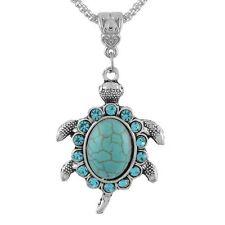 Retro Lovely Silver Turquoise Style Turtle Tortoise Pendant Necklace Hippy Boho