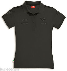 Ducati Historical 2 short Sleeve Retro Ladies Polo T-Shirt Patch Lady New