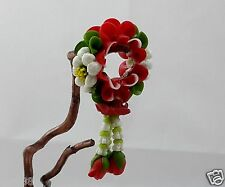CLAY ORCHID FLOWER MINI RED PHUANG MALAI GARLANDS THAI HANDICRAFT S5