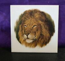 Hand Painted Lion Tile Plaque 6 X 6