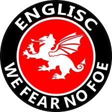 "ENGLISC ""FEAR NO FOE"" CAR WINDOW STICKER (BD) - England, White Dragon, Saxon"