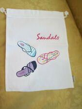 "NOS HAND Embroidered Shoe Travel Storage Bag SANDALS 12""x16"""
