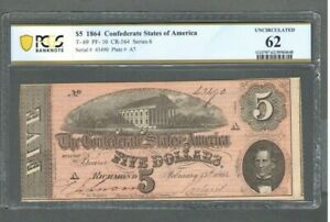 1864 $5 Five Dollar Confederate States of America - PCGS 62 UNCIRCULATED - S322