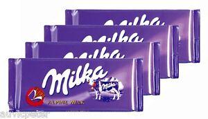 4 Bars of Milka Alpine Milk Chocolate 4x100g