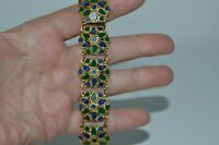 Fabulous gold tone vintage link bracelet with faux lapis and faux malachite inla