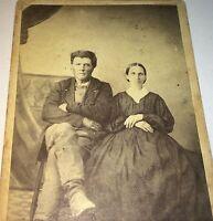 Antique American Civil War Victorian American Fashion Couple! Illinois CDV Photo