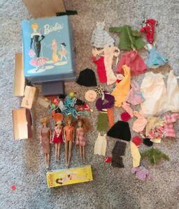 Huge Vintage 1960s Barbie Lot Dolls Clothes Case Many Accesories