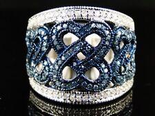10K GOLD LADIES BLUE/WHITE DIAMOND FASHION BAND RING