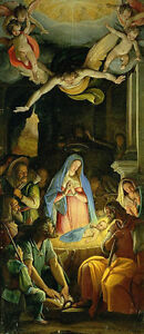 """Excellent Oil painting the Birth of Christ with Madonna and Saints angels 24""""x48"""