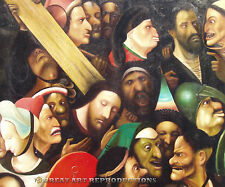"""Christ Carrying the Cross"" , Hieronymus Bosch, Reproduction in Oil, 48""x44"""