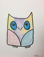Maria Scalf Owl Watercolor 9x12 ORIGINAL PAINTING Abstract Woodland Nursery Baby