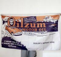 Oilzum Motor Oil Flag Ad Banner Gasoline Tapestry Poster Vintage Style Sign 3x5