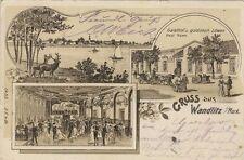 3965 - Litho Gruss aus Wandlitz mit Gasthof Huwe im Landkreis Barnim