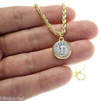 """Micro Medalla De San Benito 15 mm Medal Saint St Benedict Pendant 24"""" Rope Chain"""