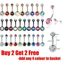 Belly Bar Surgical Steel Double Crystal Gem Navel Bar Button Ring Belly Bars