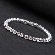 Fashion Bracelet Round Crystal Tennis Silver Bracelet White Gold Plated Gift