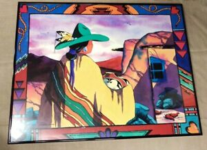 "Western Art, Doreman Burns ""Native Pueblo Woman""  24X 19 Framed Print Cowgirl"