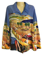 Vintage Nicole Taylor Sz L silk beaded button down shirt scene print blouse GUC