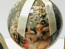 Decoupage Santa Claus Shatter Proof Christmas Ball Ornament Decor