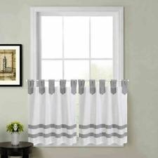 Acadia Striped 24-Inch Kitchen Window Curtain Tier Pair in Grey