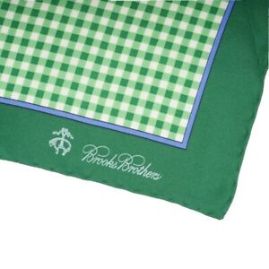 Brooks Brothers Green Gingham Plaid Blue Border Piped Silk Pocket Square NWT