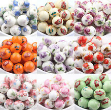 10pcs Flower Pattern Round Ceramic Porcelain Loose Spacer Beads Charms 10mm