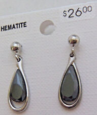Wheeler Earrings Hematite Black Man Made Stone Shiny Fashion Jewlery WHW 737 NEW