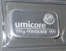 UMICORE SWISS 100g GRAM 999 PURE FINE SILVER BULLION BAR - SEALED (NOT GOLD) LS1