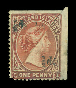 FALKLAND ISLANDS 1891 Victoria ½p on bisect 1p  Sc# 19 (SG 13)  matching pair MH